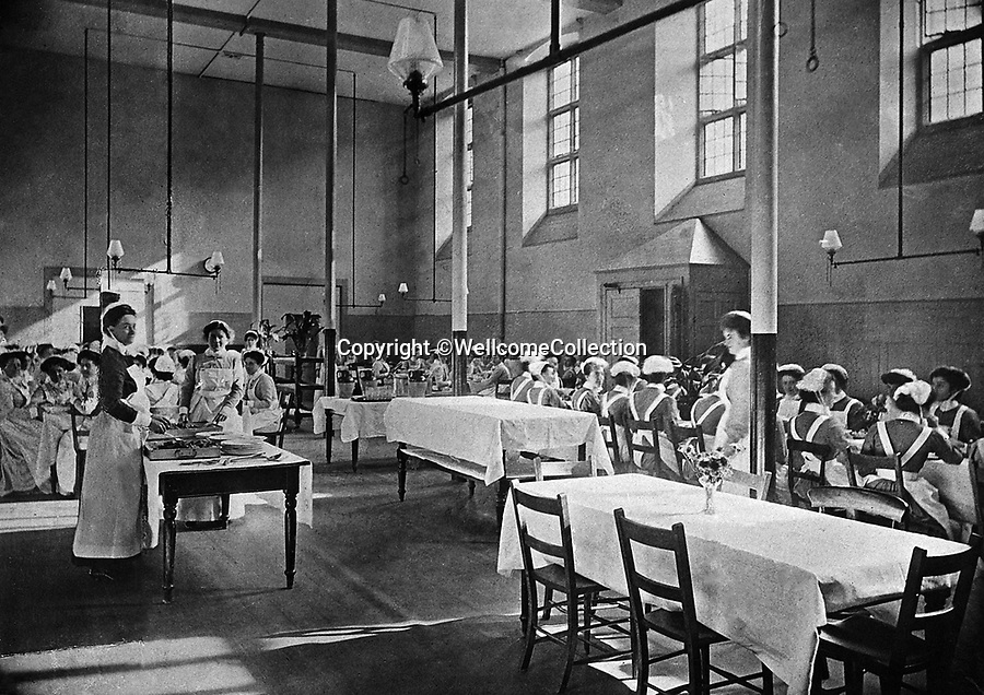 BNPS.co.uk (01202 558833)<br /> Pic: Amberley/BNPS<br /> <br /> Pictured: The nurses' dining room pictured at St Bartholomew's Hospital <br /> <br /> These rarely seen photos which provide a fascinating insight into British nursing in late 19th century feature in a new book.<br /> <br /> They reveal how the all-action nurses not only cared for patients but also prepared meals for them and did their laundry.<br /> <br /> Such was their ferocious work ethic, it is perhaps surprising they had time to be pictured sitting down together in the nurses dining room.<br /> <br /> One photo shows trainee nurses during a bandaging class, while another is of a busy male ward.<br /> <br /> The images are published in A History of Nursing, by former nurse Louise Wyatt who has charted the development of nursing from antiquity and the Middle Ages to the present day.