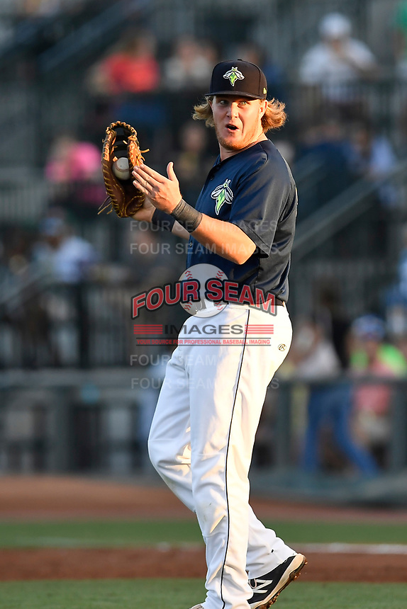First baseman Dash Winningham (34) of the Columbia Fireflies reacts after a close play at first in a game against the Lexington Legends on Thursday, June 8, 2017, at Spirit Communications Park in Columbia, South Carolina. Columbia won, 8-0. (Tom Priddy/Four Seam Images)