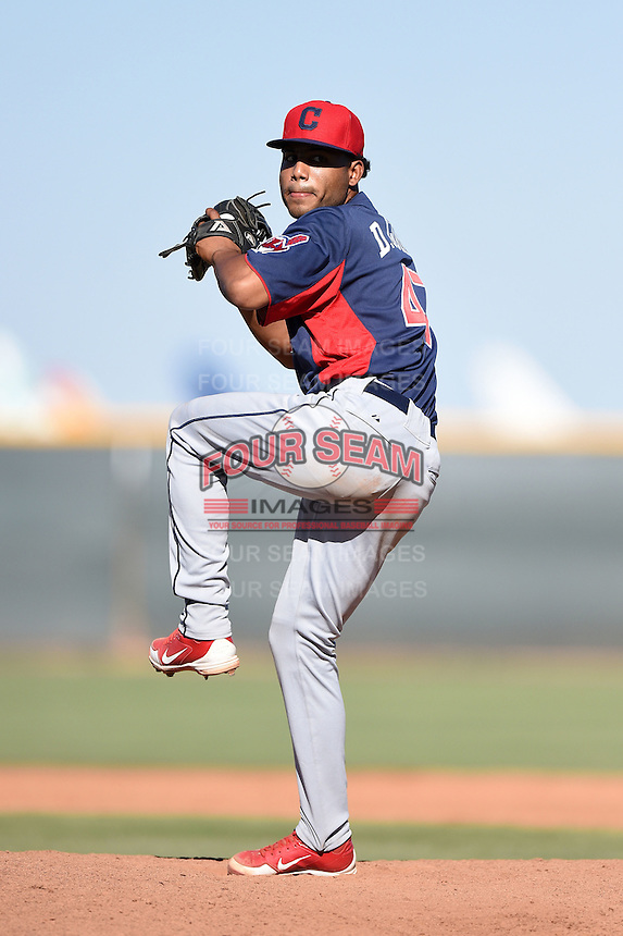 Cleveland Indians pitcher Daniel Gomez (47) during an Instructional League game against the Seattle Mariners on October 1, 2014 at Goodyear Training Complex in Goodyear, Arizona.  (Mike Janes/Four Seam Images)