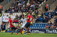 Marcus Rashford (Manchester United) scores his second goal with the help of a deflection from Sander Berge (Valerenga) of Norway during the International EURO U21 QUALIFYING - GROUP 9 match between England U21 and Norway U21 at the Weston Homes Community Stadium, Colchester, England on 6 September 2016. Photo by Andy Rowland / PRiME Media Images.