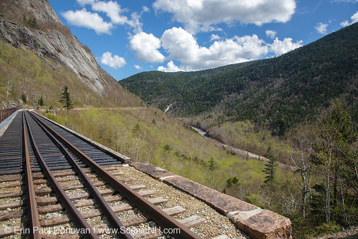 Crawford Notch State Park - Willey Brook Trestle along the old Maine Central Railroad in the White Mountains, New Hampshire USA during the spring months. This railroad is now used by the Conway Scenic Railroad.