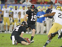 Stanford, Ca - Friday, November 30, 2012: Stanford won the Pac 12 Championships 27-24 over UCLA at Stanford University. Jordan Williamson kicks the winning field goal.