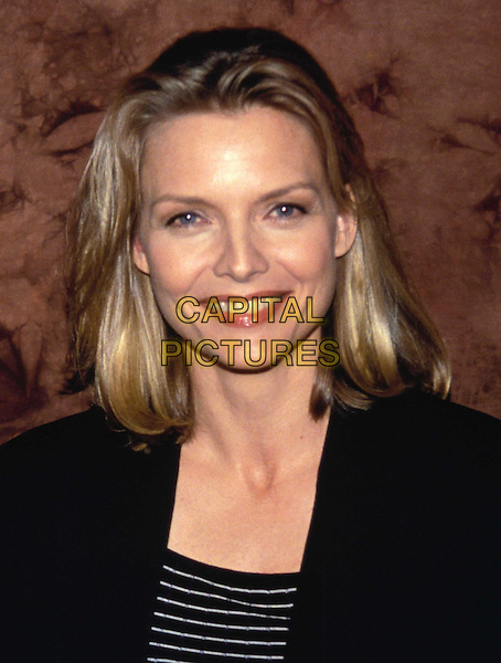 MICHELLE PFEIFFER..Ref: 4492..stripes, stripy, smiling, headshot, portrait..www.capitalpictures.com..sales@capitalpictures.com..©Capital Pictures