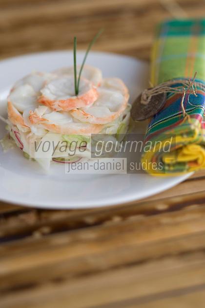France/DOM/Martinique/Le François:  Salade de langouste et légumes crus recette d'Hervé Rameau chef de l'Hôtel Cap Est Lagoon Resort & Spa