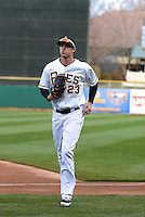 Brennan Boesch (23) of the Salt Lake Bees during the game against the Sacramento River Cats at Smith's Ballpark on April 3, 2014 in Salt Lake City, Utah.  (Stephen Smith/Four Seam Images)