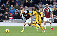 Burnley's Johann Gudmundsson vies for possession with Brighton & Hove Albion's Yves Bissouma<br /> <br /> Photographer Rich Linley/CameraSport<br /> <br /> The Premier League - Burnley v Brighton and Hove Albion - Saturday 8th December 2018 - Turf Moor - Burnley<br /> <br /> World Copyright © 2018 CameraSport. All rights reserved. 43 Linden Ave. Countesthorpe. Leicester. England. LE8 5PG - Tel: +44 (0) 116 277 4147 - admin@camerasport.com - www.camerasport.com