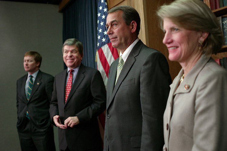 WASHINGTON, DC - Dec. 19: House Republican Conference Chairman Adam H. Putnam, R-Fla., House Minority Whip Roy Blunt, R-Mo., House Minority Leader John A. Boehner, R-Ohio, and Rep. Shelley Moore Capito, R-W.Va., during a news conference on the first session of the 110th Congress, which is coming to a close. The second session will convene for the Senate on Jan. 22, 2008, and the House will reconvene Jan. 15. (Photo by Scott J. Ferrell/Congressional Quarterly).