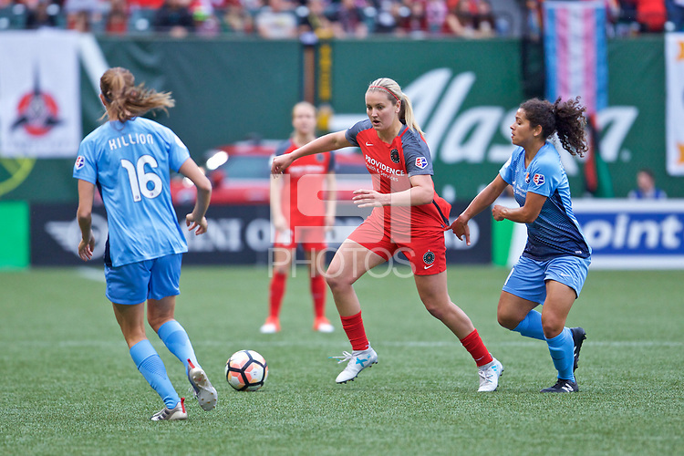 Portland, OR - Saturday June 17, 2017: Lindsey Horan, Raquel Rodriguez during a regular season National Women's Soccer League (NWSL) match between the Portland Thorns FC and Sky Blue FC at Providence Park.