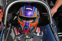 Feb. 22, 2013; Chandler, AZ, USA; NHRA top fuel dragster driver Mike Strasburg during qualifying for the Arizona Nationals at Firebird International Raceway. Mandatory Credit: Mark J. Rebilas-