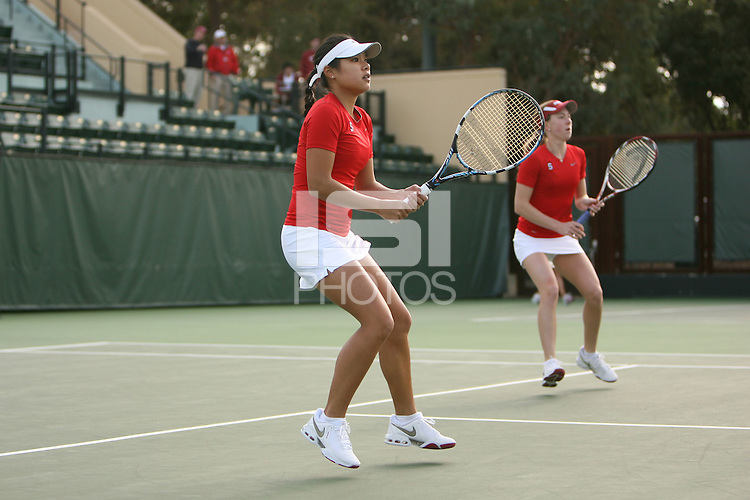 STANFORD, CA - FEBRUARY 10:  Jessica Nguyen and Carolyn McVeigh of the Stanford Cardinal during Stanford's match against the Cal Poly Mustangs on February 10, 2009 at the Taube Family Tennis Stadium in Stanford, California.