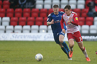 Charlie Carter of Stevenage and Kieran Glynn of Salford City during Stevenage vs Salford City, Sky Bet EFL League 2 Football at the Lamex Stadium on 15th February 2020
