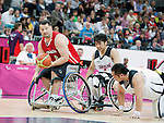 LONDON, ENGLAND 30/08/12: Joey Johnson competes in the Men's Wheelchair Basketball preliminary round CAN vs. JPN at the London 2012 Paralympic Games at the Basketball Arena (Photo by: Courtney Pollock/Canadian Paralympic Committee)
