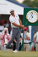 Dustin Johnson (USA) tees off the 18th hole during the first round of the 118th U.S. Open Championship at Shinnecock Hills Golf Club in Southampton, NY, USA. 14th June 2018.<br /> Picture: Golffile | Brian Spurlock<br /> <br /> <br /> All photo usage must carry mandatory copyright credit (&copy; Golffile | Brian Spurlock)