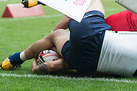 Twickenham, United Kingdom. 2nd June 2018, HSBC London Sevens Series. Game No. 17.     Pool, D. Mike FUALLEFAU, touches down and gets   tangled with the corner flag, during the Canada vs Russia,  played at  theRFU Stadium, Twickenham, England, <br /> <br /> <br /> <br /> &copy; Peter SPURRIER/ Alamy Live News Pool, D. Canada vs Russia,  played at  theRFU Stadium, Twickenham, England, <br /> <br /> <br /> <br /> &copy; Peter SPURRIER/ Alamy Live News