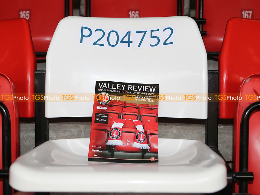 PC Palmer's red seat has been temporarily replaced by a white seat which bears his warrant number. This will remain in place for the remainder of the season during Charlton Athletic vs MK Dons, Sky Bet EFL League 1 Football at The Valley on 4th April 2017