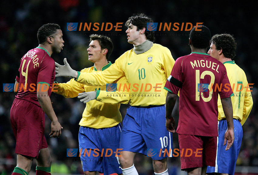 Brazil's Rafael Sobis and Kaka argue with Portugal's Jorge Andrade during a friendly match at Emirates Stadium in London, Tuesday February 06, 2007. (INSIDE/ALTERPHOTOS/Alvaro Hernandez).