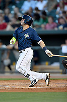 Third baseman Michael Paez (3) of the Columbia Fireflies bats in a game against  the West Virginia Power on Thursday, May 18, 2017, at Spirit Communications Park in Columbia, South Carolina. Columbia won in 10 innings, 3-2. (Tom Priddy/Four Seam Images)