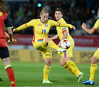 20171020 - LEUVEN , BELGIUM : Romanian Maria Ciolacu pictured during the female soccer game between the Belgian Red Flames and Romania , the second game in the qualificaton for the World Championship qualification round in group 6 for France 2019, Friday 20 th October 2017 at OHL Stadion Den Dreef in Leuven , Belgium. PHOTO SPORTPIX.BE | DAVID CATRY