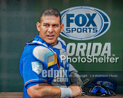 28 February 2019: New York Mets catcher Wilson Ramos prepares to start a Spring Training game against the St. Louis Cardinals at Roger Dean Stadium in Jupiter, Florida. The Mets defeated the Cardinals 3-2 in Grapefruit League play. Mandatory Credit: Ed Wolfstein Photo *** RAW (NEF) Image File Available ***
