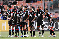 D.C. United players making a wall for a free kick from right to left Danny Cruz,Robbie Russell,Perry Kitchen,Dwayne De Rosario,Maicon Santos,Brandon McDonald and Dejan Jakovic.  Sporting Kansas City defeated D.C. United  1-0 at RFK Stadium, Saturday March 10, 2012.