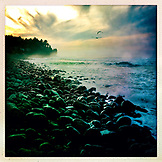USA, Oregon, Seaside, an evening view of the rocky coastline from the beach at Seaside