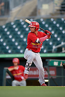 Palm Beach Cardinals center fielder Scott Hurst (7) at bat during a game against the Jupiter Hammerheads on August 4, 2018 at Roger Dean Chevrolet Stadium in Jupiter, Florida.  Palm Beach defeated Jupiter 7-6.  (Mike Janes/Four Seam Images)
