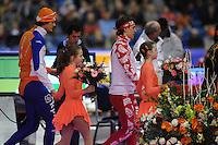 SCHAATSEN: HEERENVEEN: Thialf, Essent ISU World Cup, 02-03-2012, Podium 500m Men, Hein Otterspeer (NED), Dmitry Lobkov (RUS), ©foto: Martin de Jong