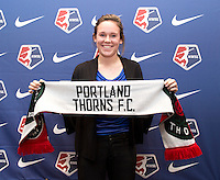 #25 overall pick Emily Menges of Portland Thorns FC poses during the NWSL draft at the Pennsylvania Convention Center in Philadelphia, PA, on January 17, 2014.