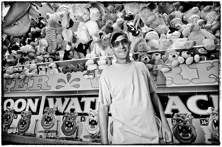 Carnie at the fair, black and white