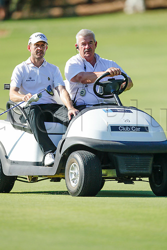 27.02.2016. Perth, Australia. ISPS HANDA Perth International Golf. Stuart Manley (WAL) gets a lift back to the third tee after hitting his ball out of bounds during day three.