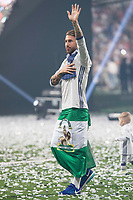 Real Madrid Sergio Ramos during the celebration of the 12th UEFA Championship won by Real Madrid  at Santiago Bernabeu Stadium in Madrid, June 04, 2017. Spain.<br /> Foto ALTERPHOTOS/BorjaB.Hojas/Insidefoto