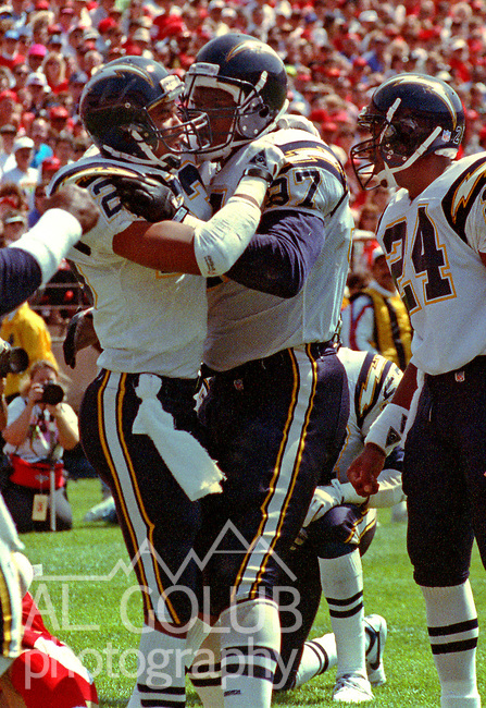 San Francisco 49ers vs. San Diego Chargers at Candlestick Park Sunday, September 8, 1991.  49ers beat Chargers 34-14.  Charger defensive back Anthony Shelton (23) and defensive end George Hinkle (97) celebrate.