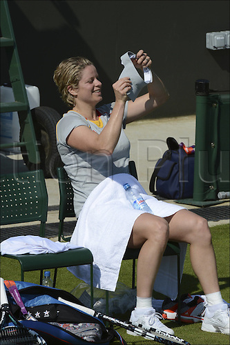 26.07.2012. London, England.  Kim Clijsters BEL Tennis practising at Wimbledon for the 2012 Olympics