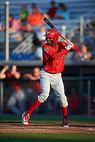 Williamsport Crosscutters right fielder Juan Luis (17) at bat during a game against the Auburn Doubledays on June 25, 2016 at Falcon Park in Auburn, New York.  Auburn defeated Williamsport 5-4.  (Mike Janes/Four Seam Images)