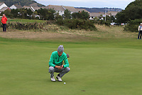Tiernan McLarnon from Ireland on the 17th green during Round 2 Singles of the Men's Home Internationals 2018 at Conwy Golf Club, Conwy, Wales on Thursday 13th September 2018.<br /> Picture: Thos Caffrey / Golffile<br /> <br /> All photo usage must carry mandatory copyright credit (&copy; Golffile | Thos Caffrey)