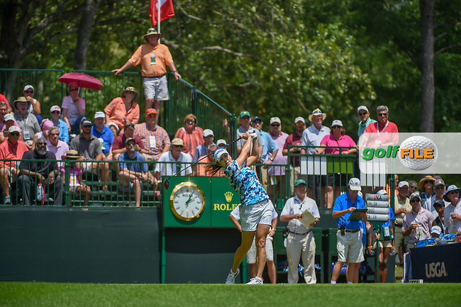 Jihyun Kim (KOR) watches her tee shot on 1 during round 3 of the U.S. Women's Open Championship, Shoal Creek Country Club, at Birmingham, Alabama, USA. 6/2/2018.<br /> Picture: Golffile | Ken Murray<br /> <br /> All photo usage must carry mandatory copyright credit (© Golffile | Ken Murray)