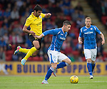 St Johnstone v Alashkert FC...09.07.15   UEFA Europa League Qualifier 2nd Leg<br /> Michael O'Halloran is tackled by Artak Grigoryan<br /> Picture by Graeme Hart.<br /> Copyright Perthshire Picture Agency<br /> Tel: 01738 623350  Mobile: 07990 594431