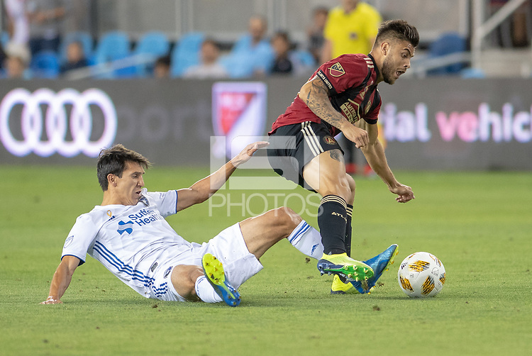 San Jose, CA - Wednesday September 19, 2018: Shea Salinas during a Major League Soccer (MLS) match between the San Jose Earthquakes and Atlanta United FC at Avaya Stadium.