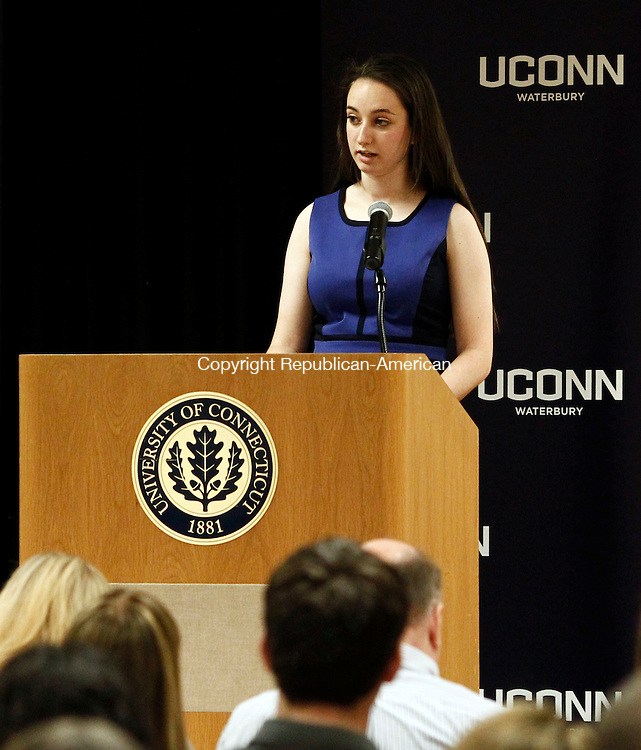 Waterbury, CT- 09 May 2014-050914CM11- Graduate Shannon Zamary gives student remarks during the UCONN Waterbury Campus senior reception in Waterbury on Friday.  Christopher Massa Republican-American