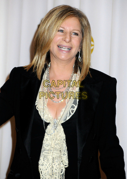 BARBRA STREISAND.82nd Annual Academy Awards held at the Kodak Theatre, Hollywood, California, USA..March 7th, 2010.oscars half length black suit jacket white lace blouse top silver necklaces .CAP/ADM/BP.©Byron Purvis/AdMedia/Capital Pictures.