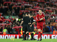 2nd January 2020; Anfield, Liverpool, Merseyside, England; English Premier League Football, Liverpool versus Sheffield United; Liverpool  captain Jordan Henderson of Liverpool shouts encouragement to his team mates prior to the kick off  - Strictly Editorial Use Only. No use with unauthorized audio, video, data, fixture lists, club/league logos or 'live' services. Online in-match use limited to 120 images, no video emulation. No use in betting, games or single club/league/player publications
