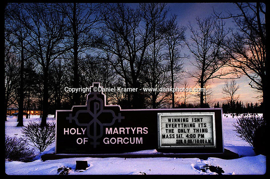 A quote from legendary NFL coach Vince Lombardi graces a church marquee in Green Bay, Wisconsin.