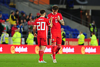 Daniel James celebrates with team mate Joe Rodon of Wales at full time during the UEFA Euro 2020 Qualifier match between Wales and Azerbaijan at the Cardiff City Stadium in Cardiff, Wales, UK. Friday 06, September 2019