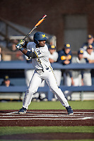 Michigan Wolverines second baseman Ako Thomas (4) at bat against the Rutgers Scarlet Knights on April 26, 2019 in the NCAA baseball game at Ray Fisher Stadium in Ann Arbor, Michigan. Michigan defeated Rutgers 8-3. (Andrew Woolley/Four Seam Images)