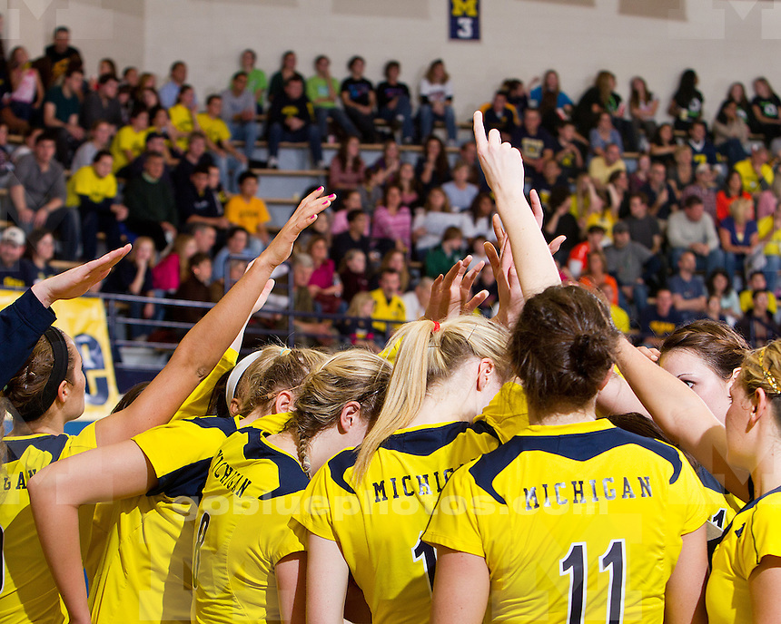 The No. 23-ranked University of Michigan volleyball team fell to No. 7-ranked University of Illinois, 3-1, at Cliff Keen Arena in Ann Arbor, Mich., on November 19, 2011.