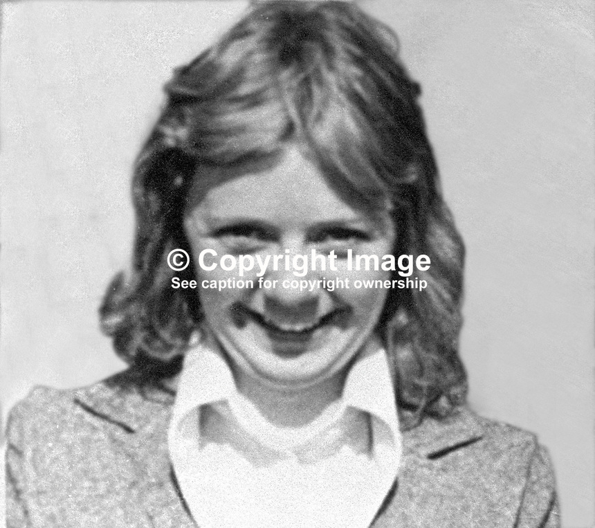 Geraldine Macklin, 20 years, single, filling station attendant, shot dead 22nd November 1974, whilst working at the People's Filling Station on the Springfield Road, Belfast, N Ireland. The killing was carried out by a UDA gang. Three men were jailed for life for their part in the incident. 197411220660...Copyright Image from Victor Patterson, 54 Dorchester Park, Belfast, United Kingdom, UK...For my Terms and Conditions of Use go to http://www.victorpatterson.com/Victor_Patterson/Terms_%26_Conditions.html