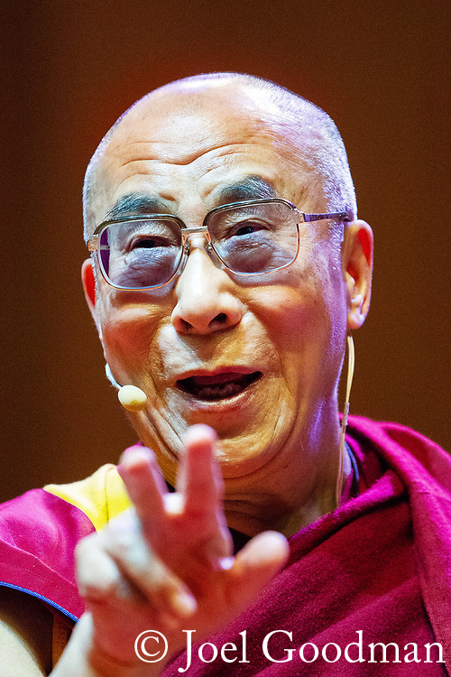 © Joel Goodman - 07973 332324 . 16/06/2012 . Manchester , UK . The DALAI LAMA at the Stand Up and Be the Change youth event , hosted by the Dalai Lama during a 10 day UK tour , at the Manchester Arena . Photo credit : Joel Goodman