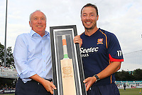Graham Napier (R) of Essex receives a presentation from Chief Executive Derek Bowden to mark his Essex career during Essex Eagles vs Glamorgan, NatWest T20 Blast Cricket at the Essex County Ground on 29th July 2016
