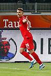 09.06.2020, xtgx, Fussball 3. Liga, Hallescher FC - SV Waldhof Mannheim emspor, v.l. Julian Guttau (Halle, 24) Jubel, Torjubel, jubelt ueber das Tor, celebrate the goal, celebration  beim Spiel in der 3. Liga, Hallescher FC - SV Waldhof Mannheim.<br /> <br /> Foto © PIX-Sportfotos *** Foto ist honorarpflichtig! *** Auf Anfrage in hoeherer Qualitaet/Aufloesung. Belegexemplar erbeten. Veroeffentlichung ausschliesslich fuer journalistisch-publizistische Zwecke. For editorial use only. DFL regulations prohibit any use of photographs as image sequences and/or quasi-video.