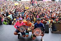 MEDELLIN - COLOMBIA, 17-02-2019:Miguel Angel López (Centro) del equipo Sky celebra con el trofeo en forma de Poporo al  quedar campeón del Tour Colombia 2.1 2019 : lo acompañan a la izquierda de la foto Daniel Martínez tercer puesto del equipo EF Education Firts y a la derecha Ivan Sosa segundo Puesto del equipo Sky durante sexta etapa del Tour Colombia 2.1 2019 con un recorrido de 173.8 Km, que se corrió con salida en El Retiro  y llegada en Las Palmas, Antioquia. / Miguel Angel López (Center)of team sky  celebrates with the trophy in the form of Poporo to be champion of the Tour Colombia 2.1 2019: they accompany him to the left of the photo Daniel Martínez third place of the EF Education Firts team and to the right Ivan Sosa second position of the Sky teamduring the sixth stage of 173.8 km of Tour Colombia 2.1 2019 that ran in El Retiro with start and arrival in Las Palmas, Antioquia.  Photo:VizzorImage / Eder Garces / Fedeciclismo Prensa / Cont